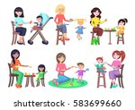 mothers feeding their children... | Shutterstock .eps vector #583699660