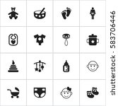 set of 16 editable child icons. ... | Shutterstock . vector #583706446