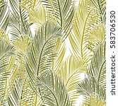 seamless tropical pattern of... | Shutterstock .eps vector #583706530