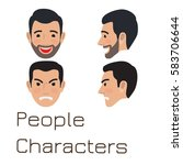 people characters. sad and... | Shutterstock .eps vector #583706644