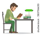 young man reading textbook in...   Shutterstock .eps vector #583706650