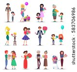 women's happy day concept... | Shutterstock .eps vector #583706986