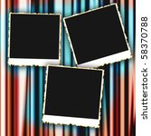 blank photo frames on curtain...   Shutterstock . vector #58370788