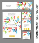 set of promotional flyers with... | Shutterstock .eps vector #583709209