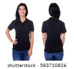 young woman in black polo shirt ... | Shutterstock . vector #583710826