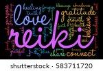 reiki word cloud on a black... | Shutterstock .eps vector #583711720