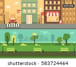 urban park and city street.... | Shutterstock .eps vector #583724464