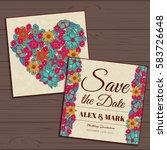 wedding invitation card suite... | Shutterstock .eps vector #583726648