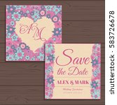 wedding invitation card suite... | Shutterstock .eps vector #583726678