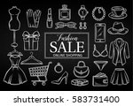 hand drawn fashion online shop... | Shutterstock .eps vector #583731400