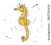sea horse.  hand drawn vector... | Shutterstock .eps vector #583732414