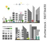 city elements to make your own... | Shutterstock .eps vector #583736650