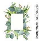 watercolor hand painted green... | Shutterstock . vector #583738843