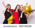 three lovely young women have... | Shutterstock . vector #583740208