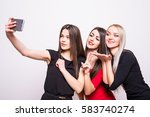 three models in night dresses... | Shutterstock . vector #583740274
