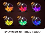 set of shine bottles with a...   Shutterstock .eps vector #583741000