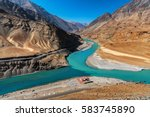 confluence of the indus and... | Shutterstock . vector #583745890