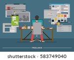 work over the internet | Shutterstock .eps vector #583749040