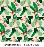 tropical flowers with polka... | Shutterstock .eps vector #583753438