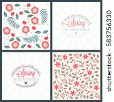 spring holiday greeting card... | Shutterstock .eps vector #583756330