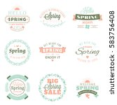 spring vintage typographic... | Shutterstock .eps vector #583756408