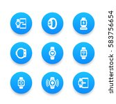 smart watch icons set  wearable ...