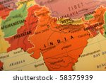 Colorful India map on the globe close up shot - stock photo