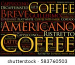 list of coffee drinks words... | Shutterstock . vector #583760503