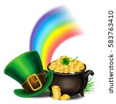 st.patrick's day symbols pot of ... | Shutterstock .eps vector #583763410