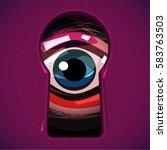 human eye looking through a... | Shutterstock .eps vector #583763503