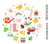 spring icons set in round shape ... | Shutterstock .eps vector #583764334
