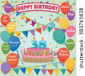 38th birthday cake and...   Shutterstock .eps vector #583765828