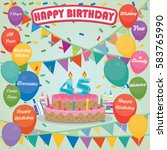 45th birthday cake and... | Shutterstock .eps vector #583765990