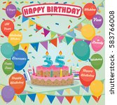 35th birthday cake and... | Shutterstock .eps vector #583766008