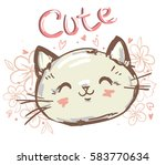 Stock vector children print on t shirt girl hand drawn cat 583770634