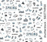 spring doodle objects pattern | Shutterstock .eps vector #583774900