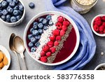 smoothie bowl with fresh... | Shutterstock . vector #583776358