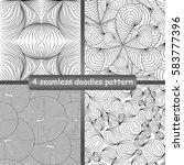 set of 4 doodles seamless... | Shutterstock .eps vector #583777396