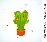 cute cactus heart with flowers  ... | Shutterstock .eps vector #583787560
