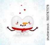 cute snowman heart with... | Shutterstock .eps vector #583787578