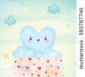 cute cloud heart with rain ... | Shutterstock .eps vector #583787740
