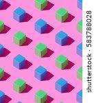 blue and green wooden cubes...   Shutterstock . vector #583788028