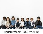 happy diverse group of kids... | Shutterstock . vector #583790440
