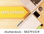 employment   linear text arrow... | Shutterstock . vector #583791529