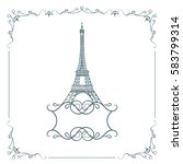 eiffel tower isolated  hand... | Shutterstock . vector #583799314