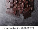 chocolate bar pieces.  a large ... | Shutterstock . vector #583802074