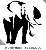 black and white linear paint... | Shutterstock .eps vector #583803700
