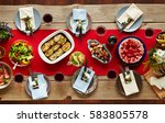 homemade food on served festive ... | Shutterstock . vector #583805578