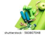 fitness concept   yoga mat ... | Shutterstock . vector #583807048
