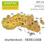 flat 3d isometric africa flora... | Shutterstock .eps vector #583811008